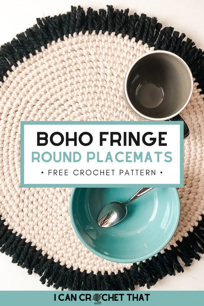 Free Crochet Round Placemats Pattern with fringe