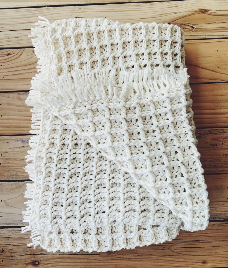 Crochet waffle stitch blanket for dorm