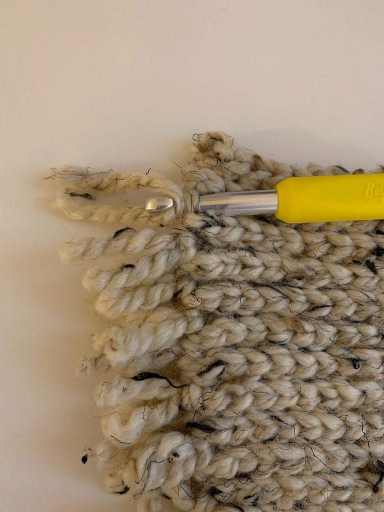 adding fringe to crochet rug