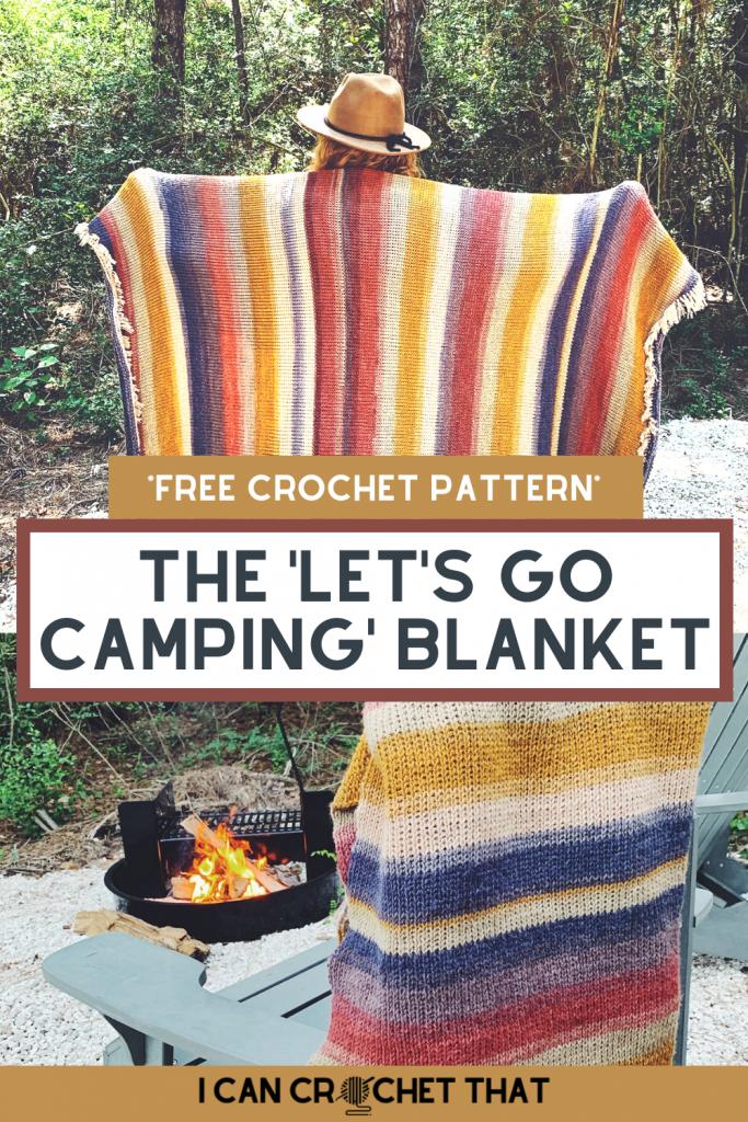 Crochet camping blanket Tunisian knit stitch