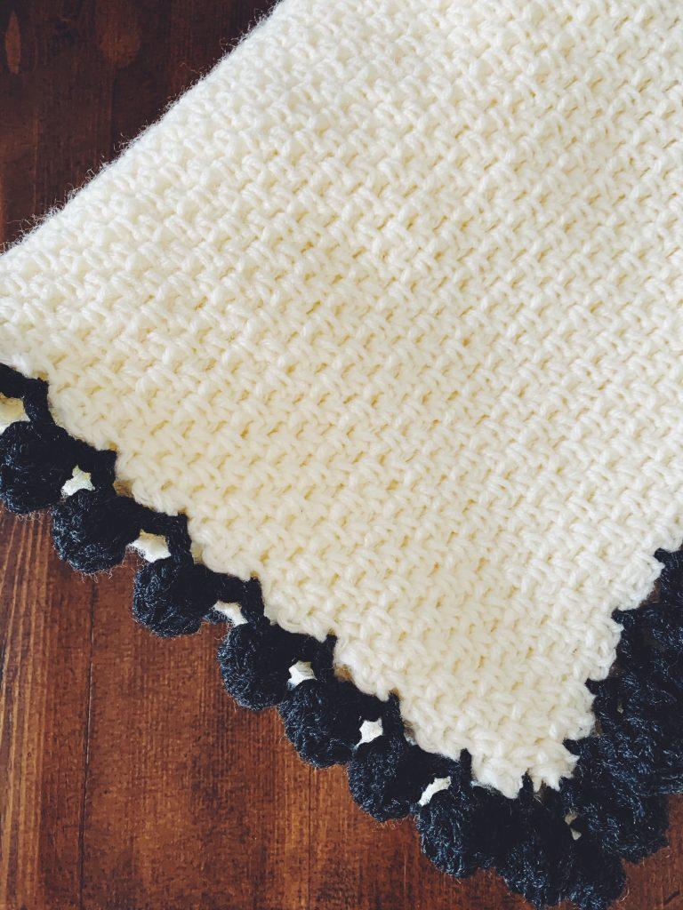 crochet blanket with bobble edging