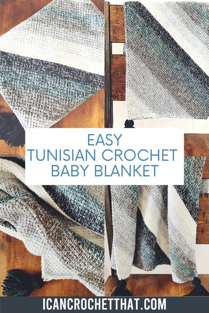 easy Tunisian crochet baby blanket
