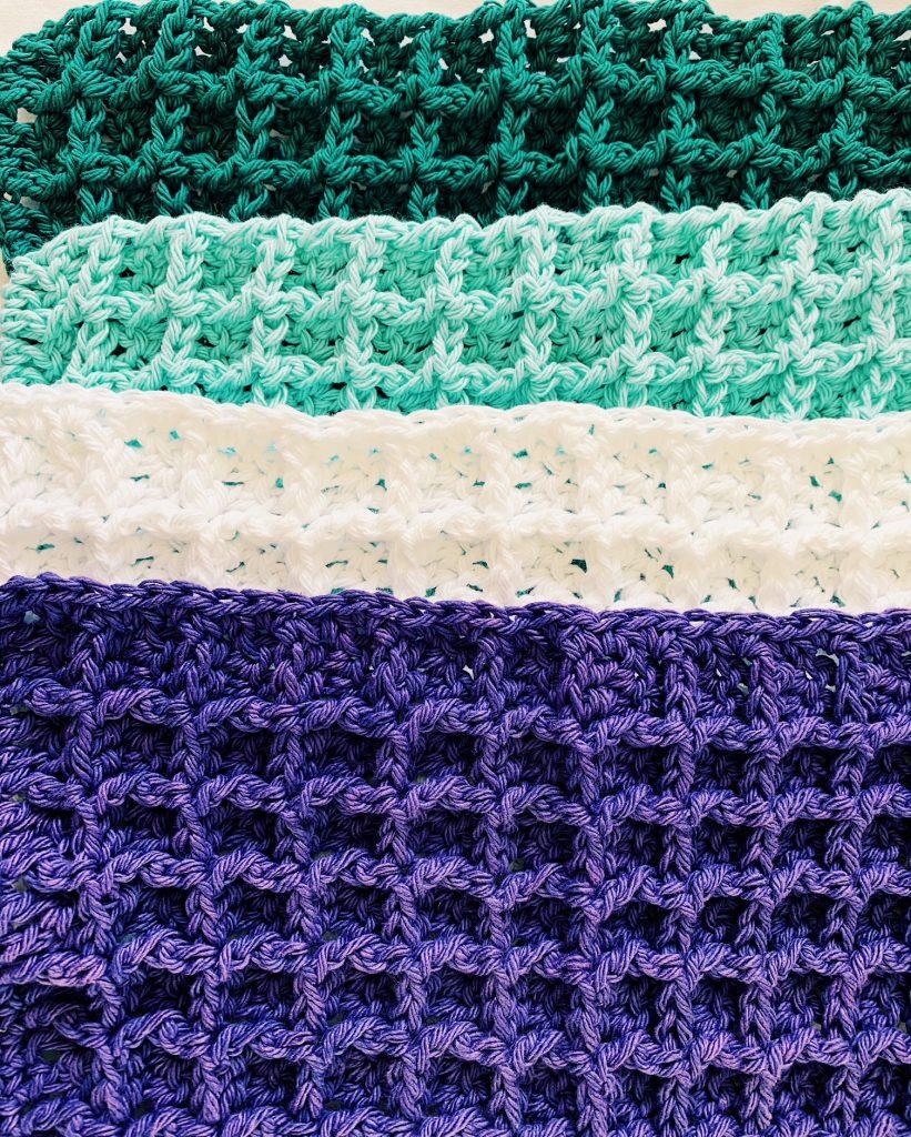 crocheting a waffle stitch dishcloth