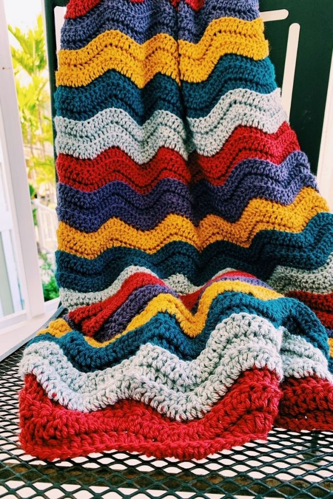 january crochet blanket in wave stitch