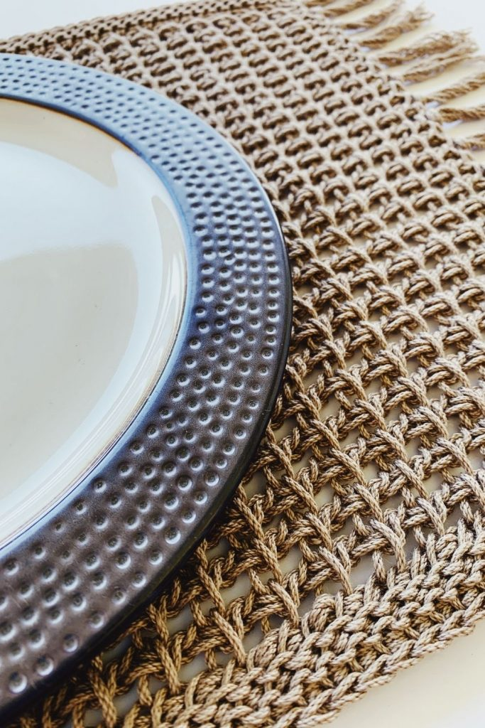 tunisian crochet rectangle placemat pattern
