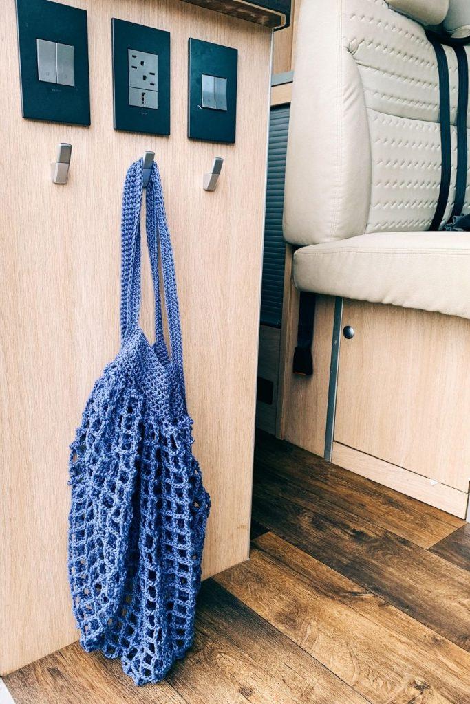 crochet market bag in camper van