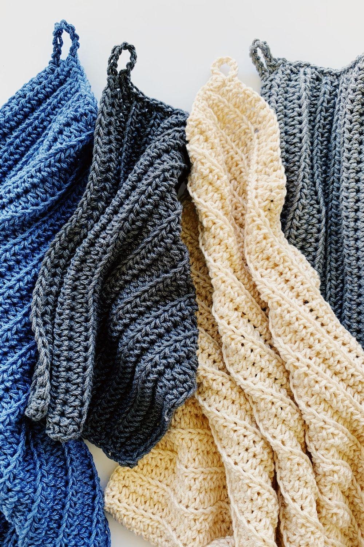 bright Crochet stitch tea towel dish cloth