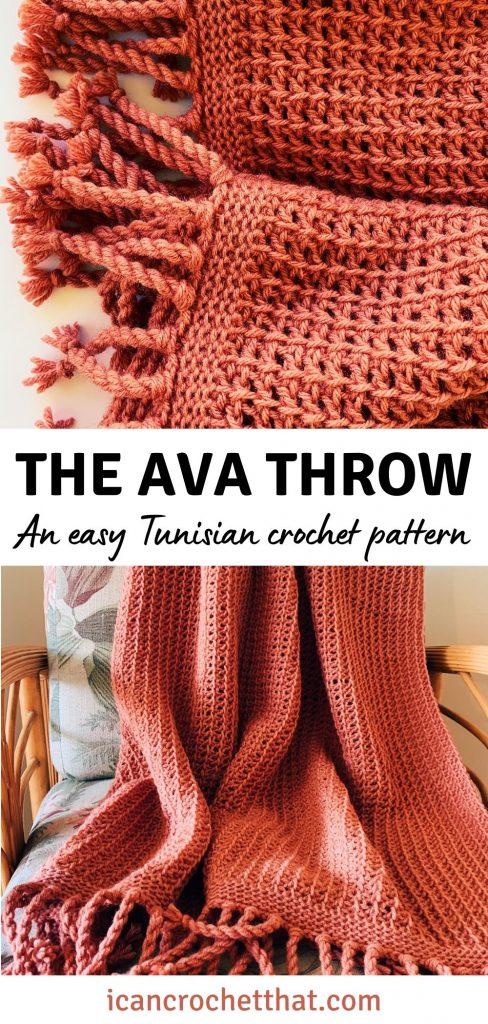 The Ava Tunisian crochet throw pattern