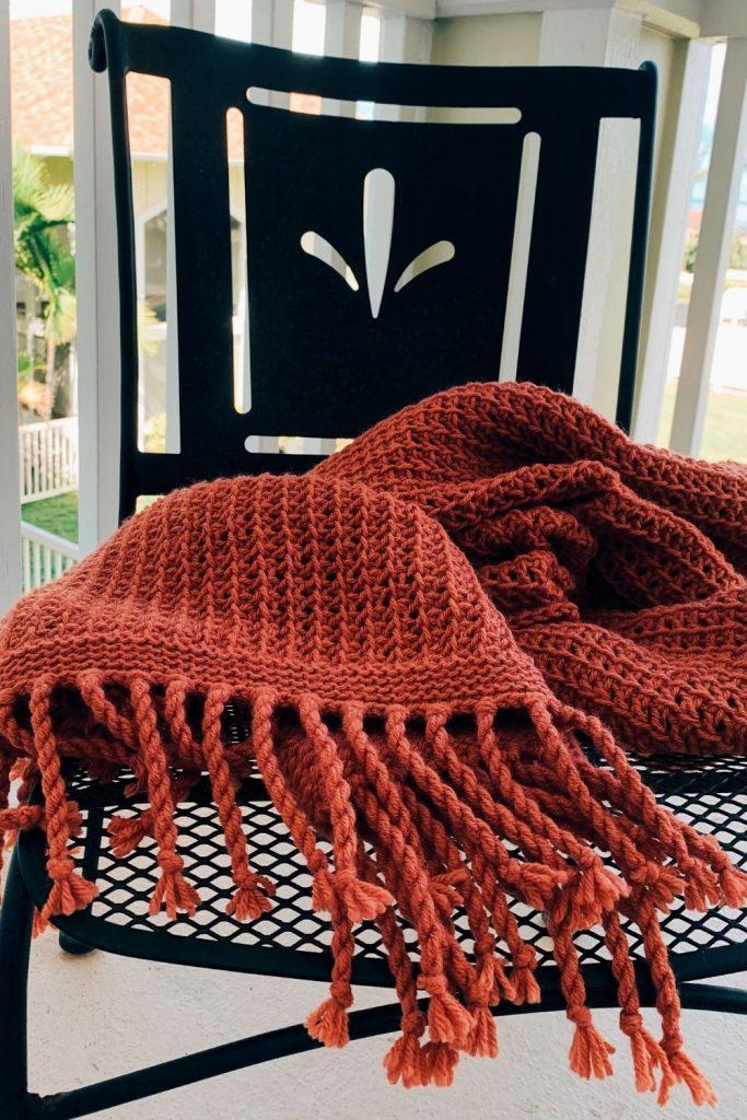 Tunisian crochet blanket in Terracotta