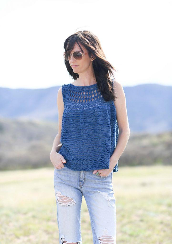 blue crochet summer top pattern