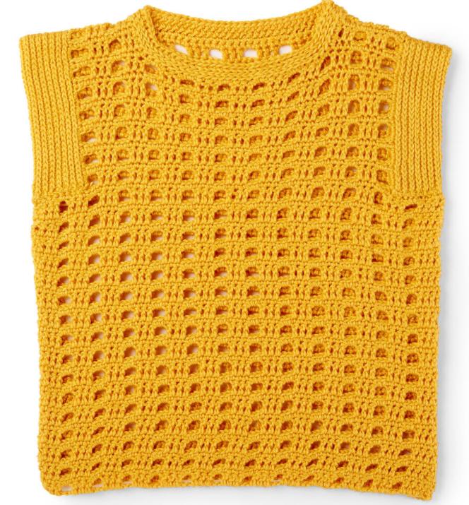 yellow crochet top