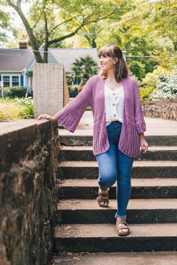 a purple summer crochet cardigan pattern