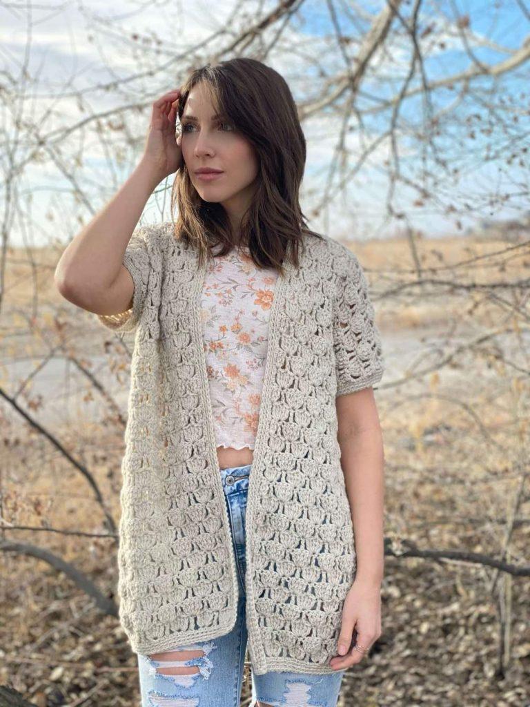 lacy spring crochet cardigan pattern
