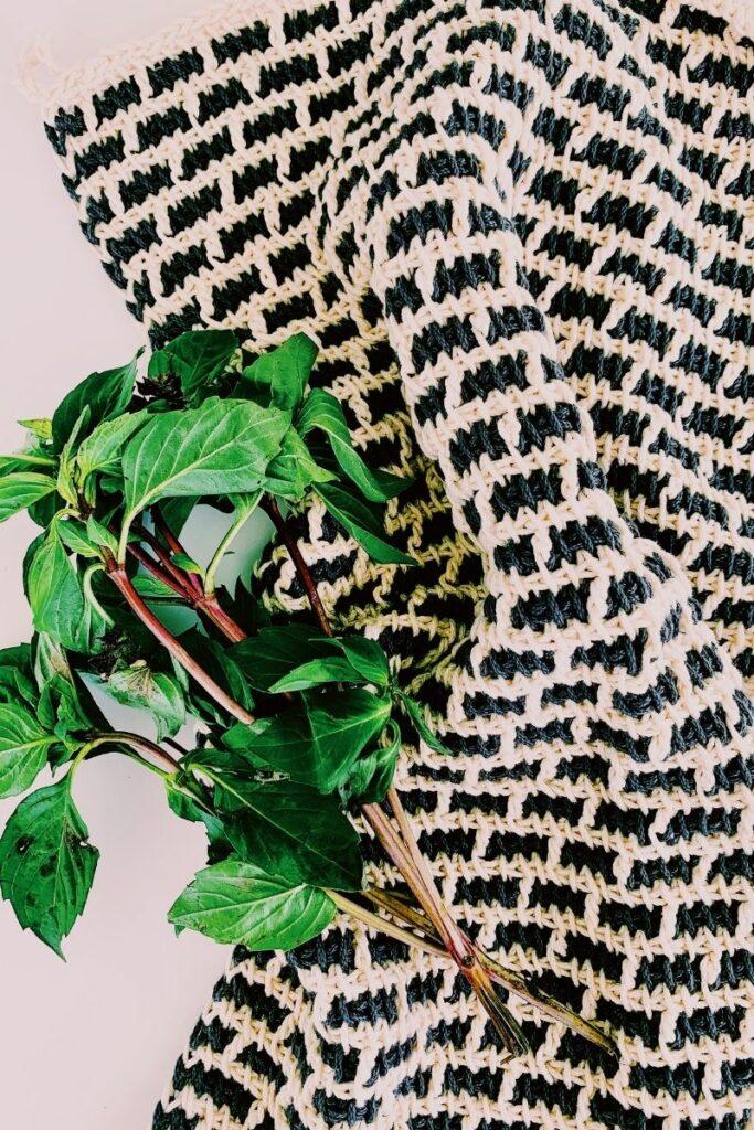 tunisian crochet kitchen towel