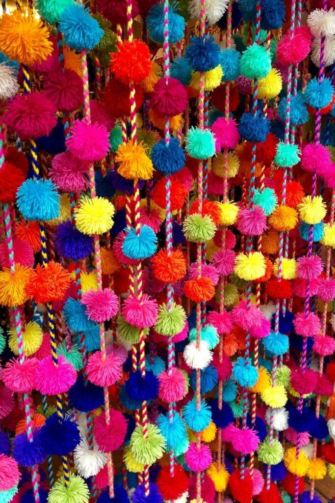 yarn pom pom garland