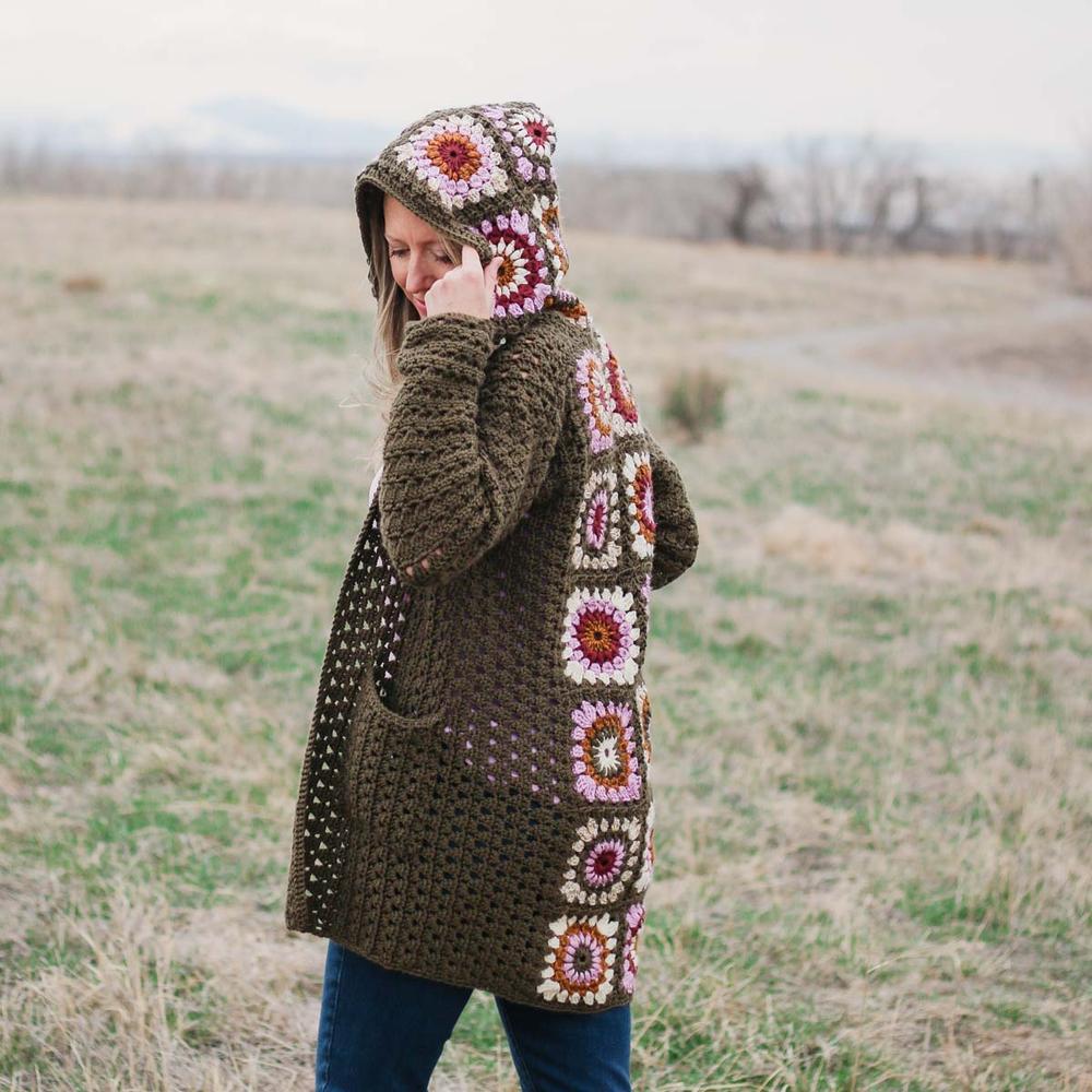 retro granny square crochet cardigan pattern