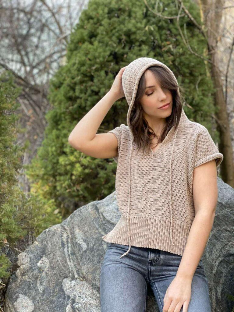 short sleeve crochet hoodie