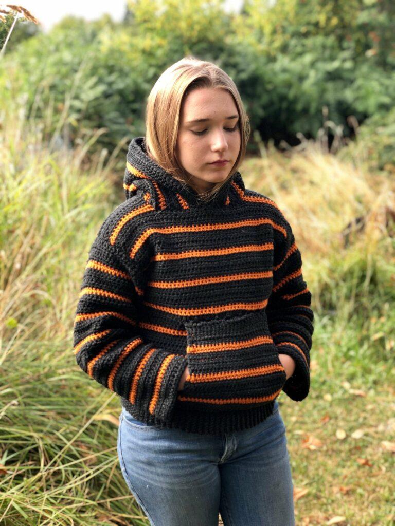 striped crochet hoodie pattern