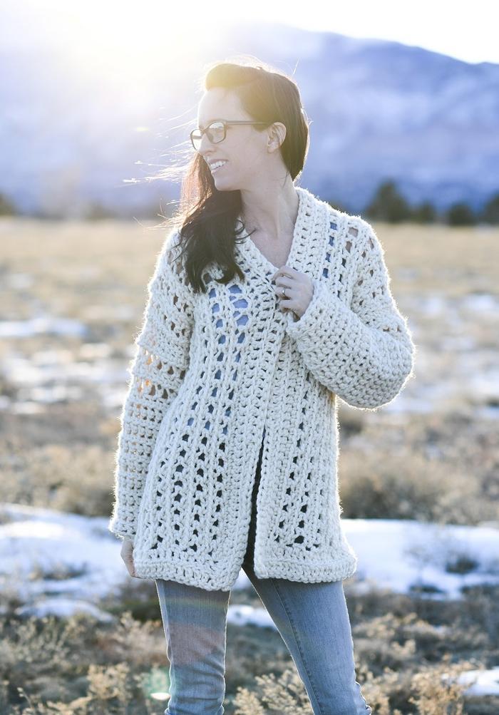 light snow oversized crochet cardigan pattern