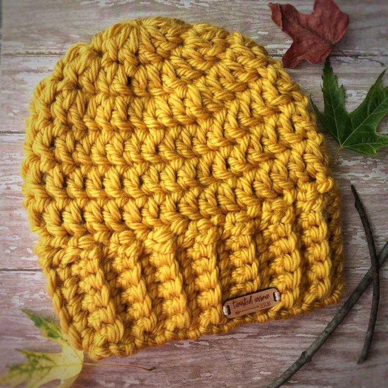 yellow crochet beanie