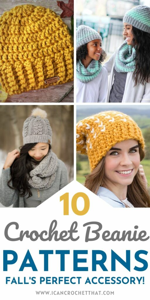 a round up of beanie patterns to crochet this fall