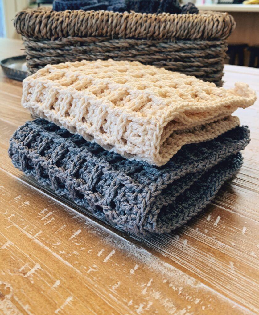 waffle stitch crochet dishcloth pattern