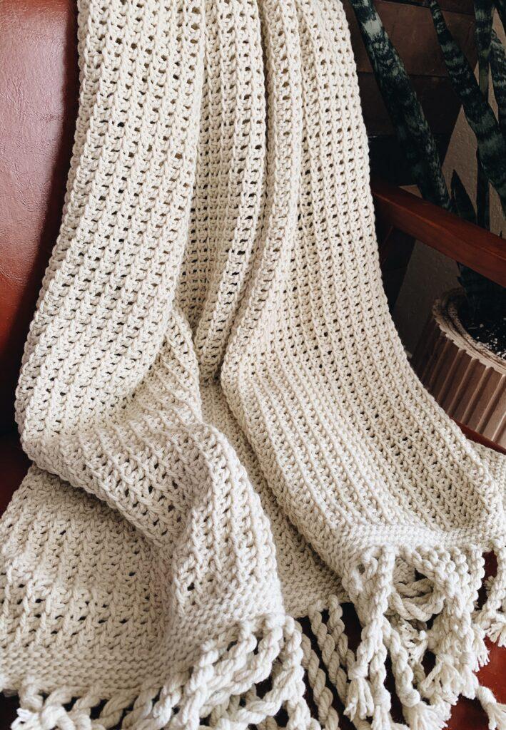 the ava throw, a tunisian crochet throw pattern