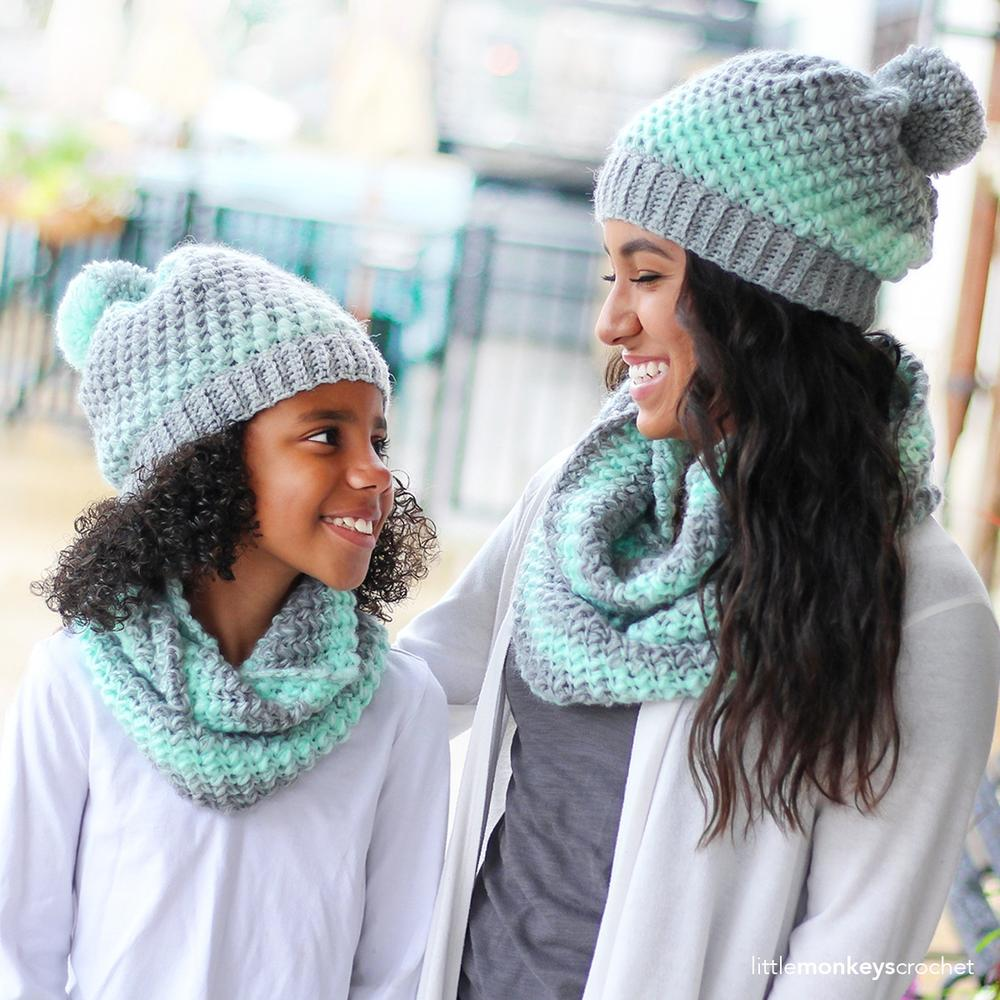 mother daughter crochet beanie and scarf pattern