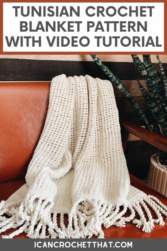Tunisian crochet blanket pattern The Ava Throw