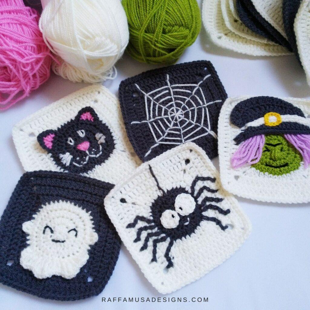 crochet halloween granny squares