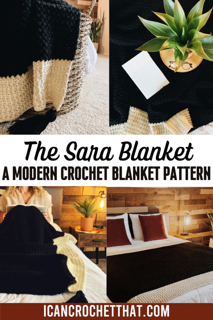 a collage of the sara crochet blanket pattern